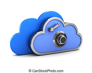 cloud storage - 3d illustration of protected cloud storage...