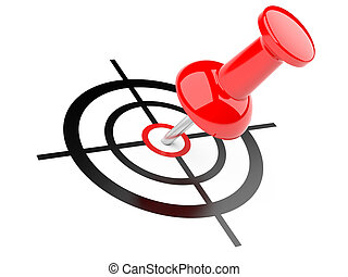 3d illustration of push pin with target - target concept -...
