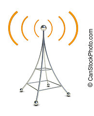 radio antenna - 3d illustration of radio antenna symbol over...