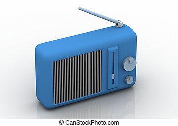 3d illustration of radio in white