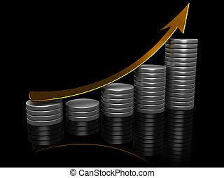raising charts - 3d illustration of raising charts with...
