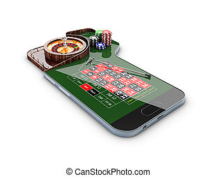 3d Illustration of realistic casino roulette table, on the phone screen, casino online concept