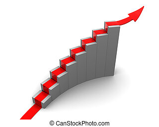 rising charts - 3d illustration of red arrow over rising...