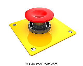 3d illustration of red button with yellow plate, over white background