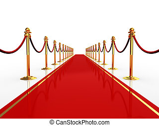 red carpet - 3d illustration of red carpet over white...