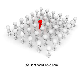 3D illustration of red character standing out of the crowd