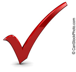 check mark - 3d illustration of red check mark standing over...