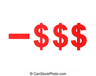 3D Illustration of red dollar symbol with minus sign in front of it