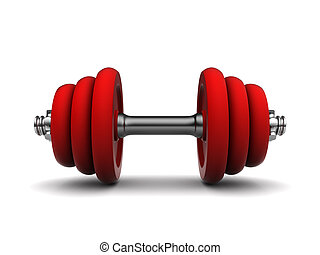 red dumbell - 3d illustration of red dumbell over white...