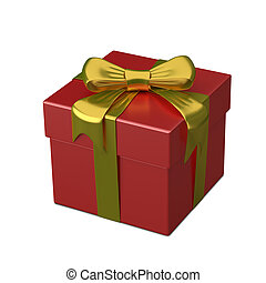 3D Illustration of Red Gift Box with Ribbon