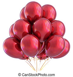 3D illustration of red helium balloons birthday party decoration