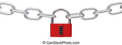 3d illustration of red padlock with code.