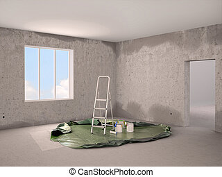 3d illustration of Repair and painting in the room