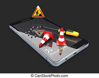 3d Illustration of Repair the smartphone. isolated black background
