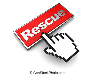 rescue button - 3d illustration of rescue button and mouse...
