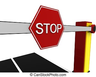 3d illustration of road and stop sign