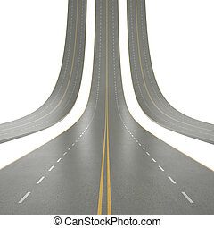 3d illustration of road curved up