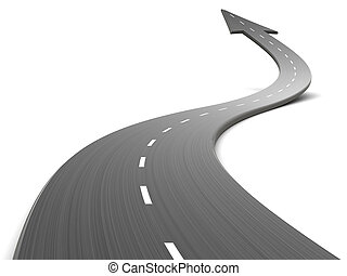 road forward - 3d illustration of road forward, over white ...