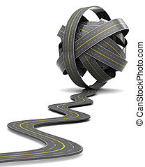 road knot - 3d illustration of road knot over white