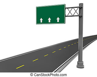 road sign - 3d illustration of road sign and road, over...