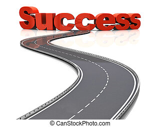 road to success - 3d illustration of road to success concept...