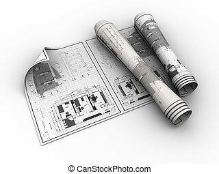 rolled blueprints - 3d illustration of rolled blueprints...