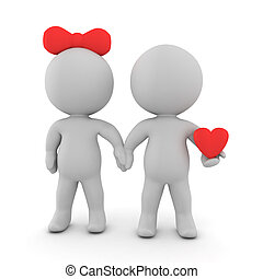 3D illustration of romantic couple with one of them holding...