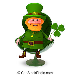 3D Illustration of Saint Patrick with Clover In the Armchair