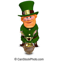 3D Illustration of Saint Patrick with Gold Coins