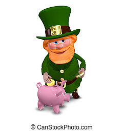 3D Illustration of Saint Patrick with Piggy Bank