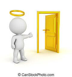 3D illustration of saint with a halo showing an opened door