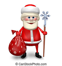 3D Illustration of Santa Claus with a Bag and Staff