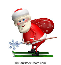 3D Illustration of Santa Claus with a Bag by Ski