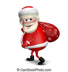 3D Illustration of Santa Claus with a Bag