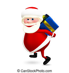 3D Illustration of Santa with a Gift