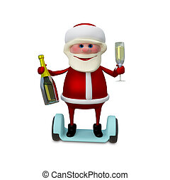 3d Illustration of Santa with Champagne on Scooter