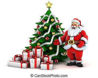3d illustration of santa`s tree with presents