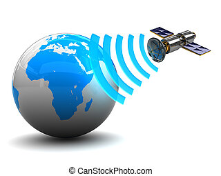 3d illustration of satellite broadcasting to earth globe