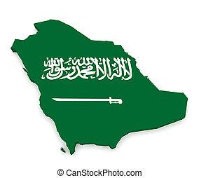 3d Illustration of Saudi Arabia Flag Map Isolated On White