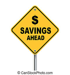 3d Illustration of savings ahead road sign