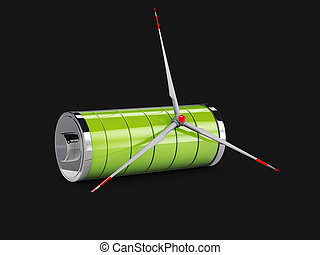 3d Illustration of Screw from a windmill with full green battery, isolated black