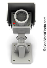 camera - 3d illustration of security camera with red lamp,...