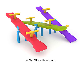 Seesaw - 3D Illustration of Seesaws