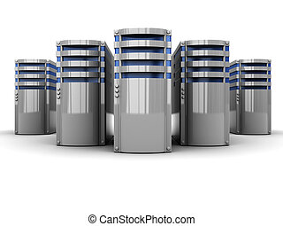 servers - 3d illustration of servers group over white...