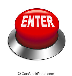 3d illustration of shiny enter button