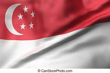 3D Illustration of Singapore Flag