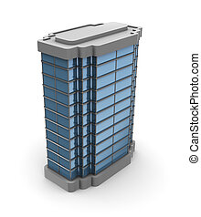building - 3d illustration of single city building over...