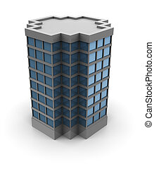 office building - 3d illustration of single office building ...