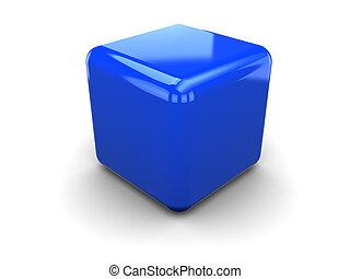 3d illustration of single plastic cube, over white background