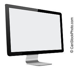 3D illustration of Slim LED Computer Monitor with blank...